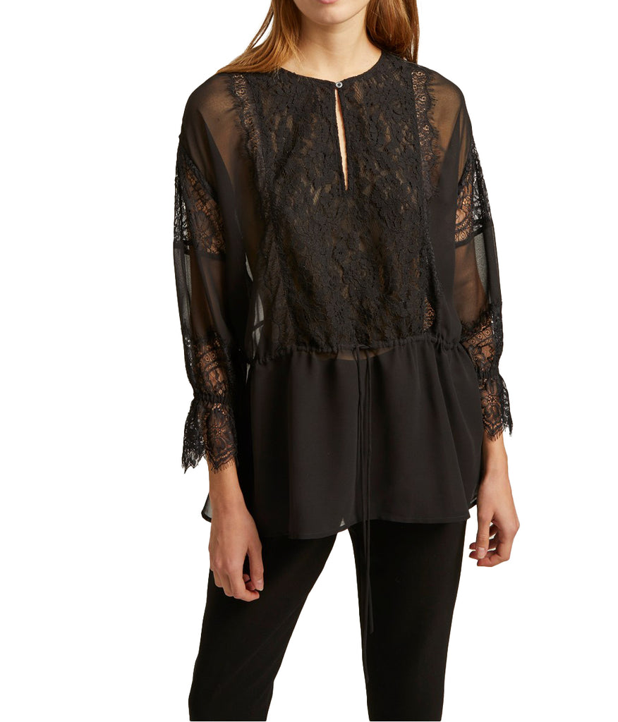 Yieldings Discount Clothing Store's Abella Mix Blouse by French Connection in Black