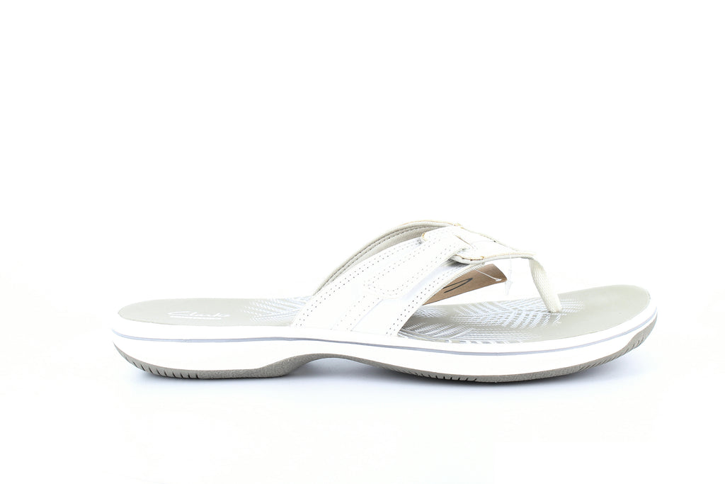 Yieldings Discount Shoes Store's Brinkley Bree Thong Sandals by Clarks in White
