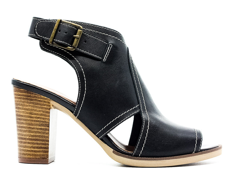 Yieldings Discount Shoes Store's Viv-Italy Leather Block Heel Sandals by Bella Vita in Black