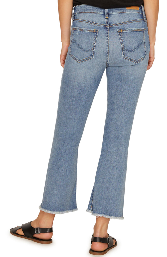 Yieldings Discount Clothing Store's Frayed-Hem Capri Jeans by Sanctuary in San Jacinto Blue