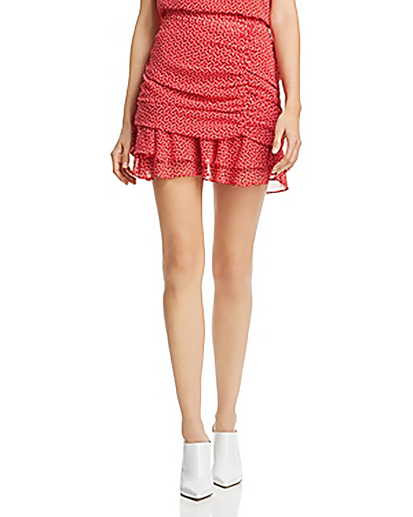 Yieldings Discount Clothing Store's Wyatt Heart Print Ruffled Pencil Skirt by Aqua in Red