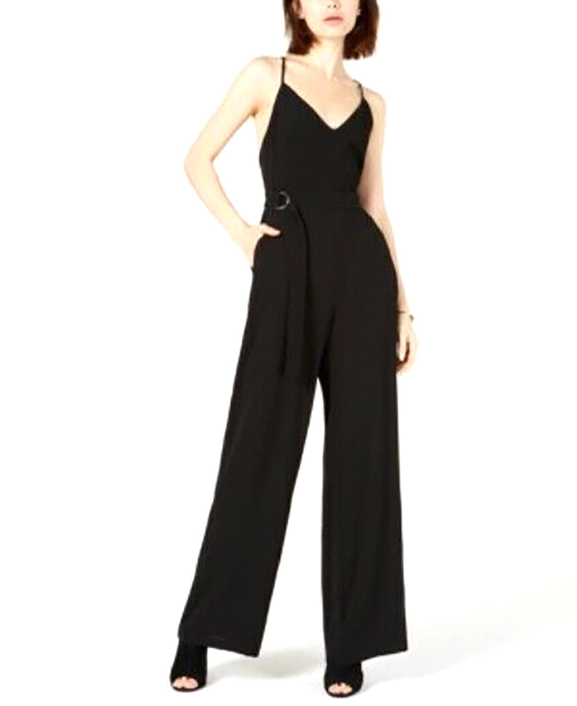 Yieldings Discount Clothing Store's Strappy-Back Wide-Leg Jumpsuit by Leyden in Black