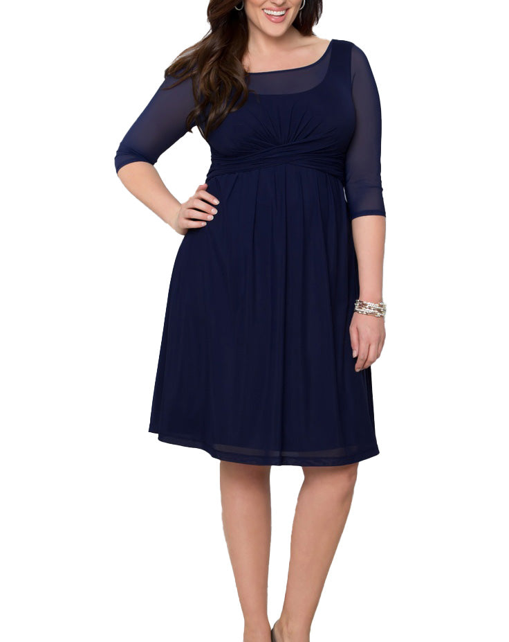 Yieldings Discount Clothing Store's Morgan Mesh Dress by Kiyonna in Navy