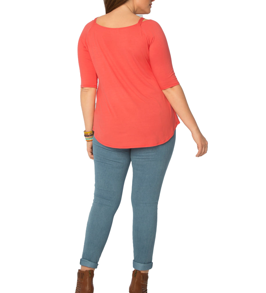 Yieldings Discount Clothing Store's Destination Daydream Top by Kiyonna in Coral
