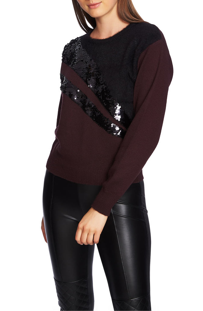 Yieldings Discount Clothing Store's Mixed Media Sequin Sweater by 1.State in Dark Ox Blood