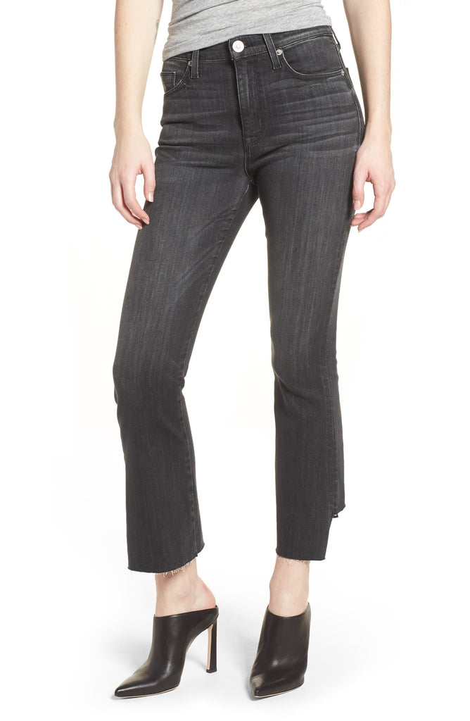 Yieldings Discount Clothing Store's Holly High Rise Crop Flare Jeans by Hudson in Black