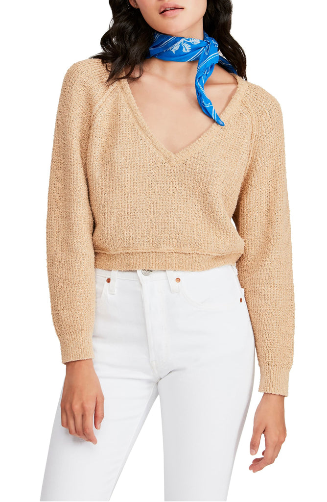 Yieldings Discount Clothing Store's High Low V-Neck Sweater by Free People in Camel