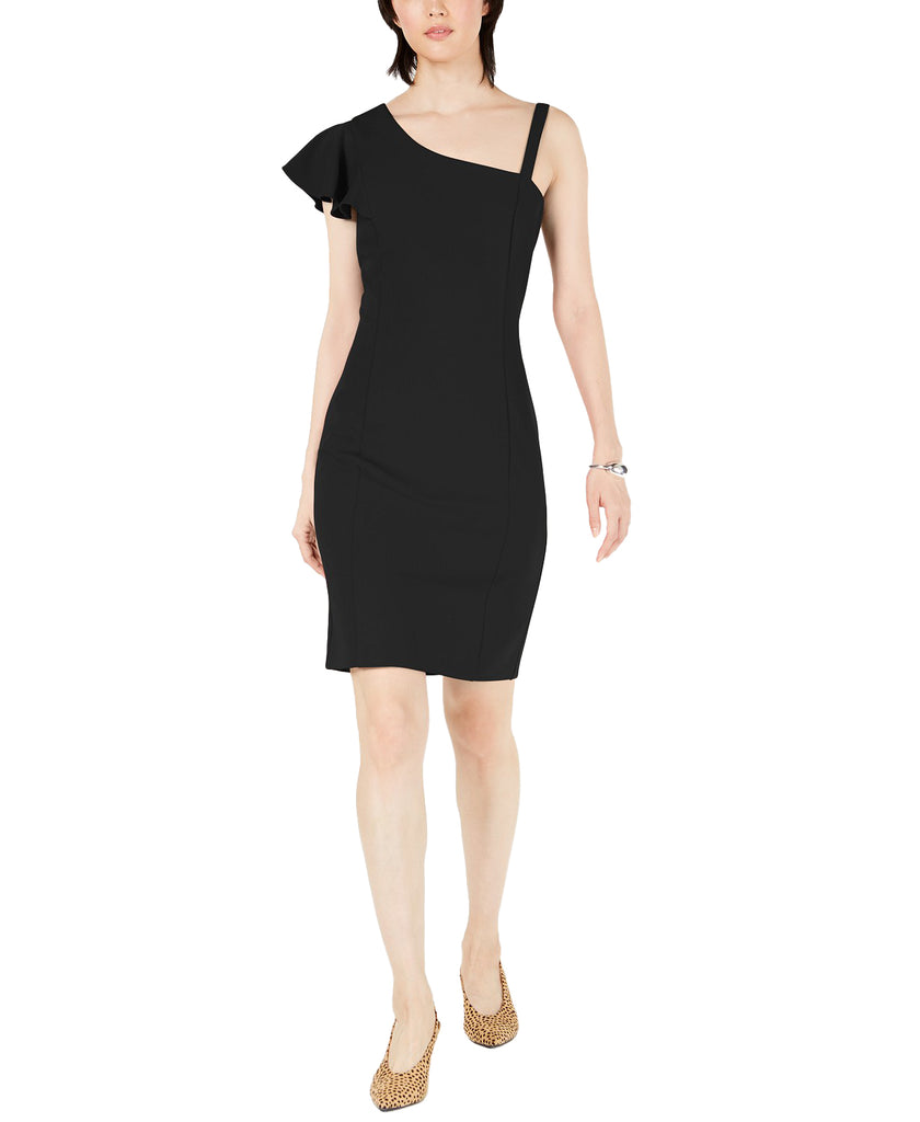 Yieldings Discount Clothing Store's Asymmetrical Ruffle Bodycon Dress by Bar III in Deep Black