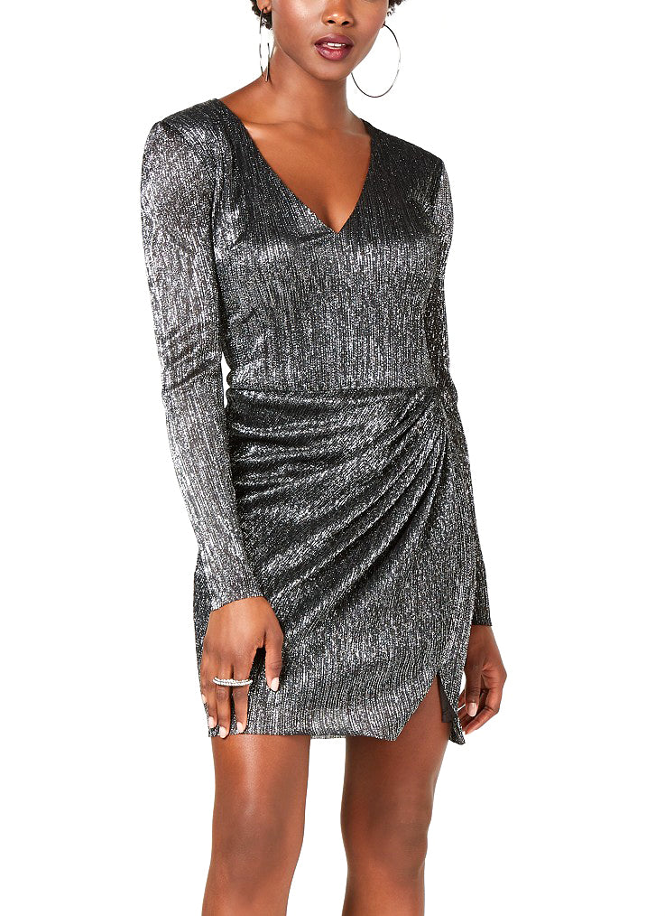 Yieldings Discount Clothing Store's Cosmo Metallic Long-Sleeve Dress by Guess in Jet Black