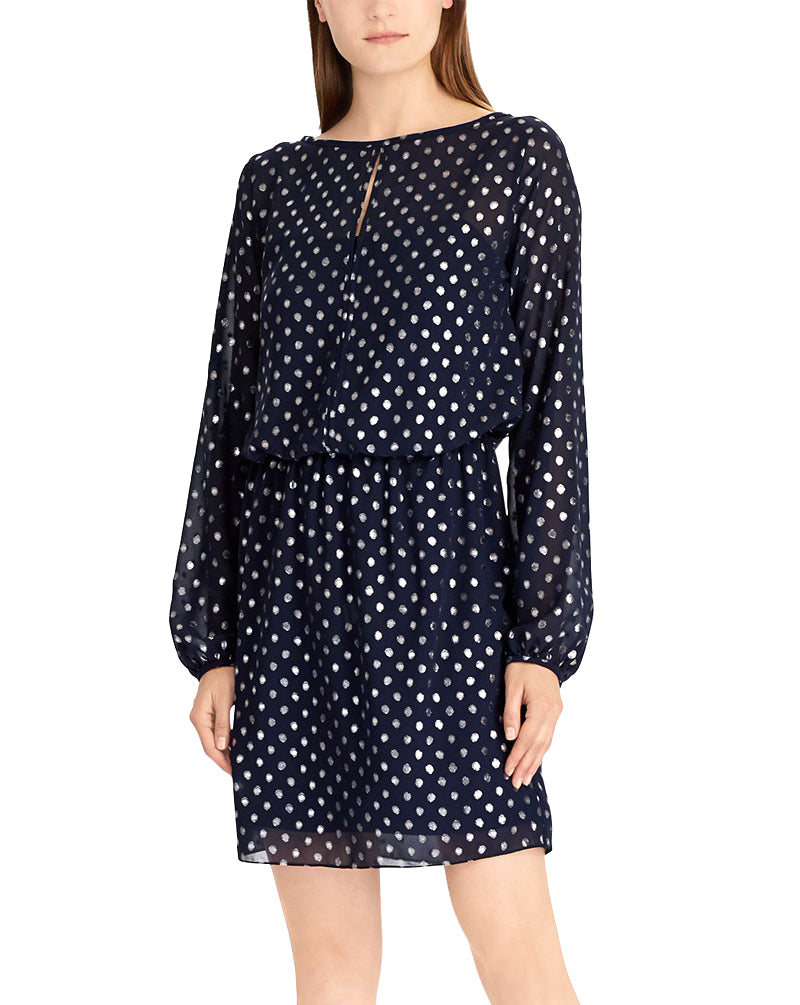Yieldings Discount Clothing Store's Metallic Dot-Print Dress by American Living in Navy Multi