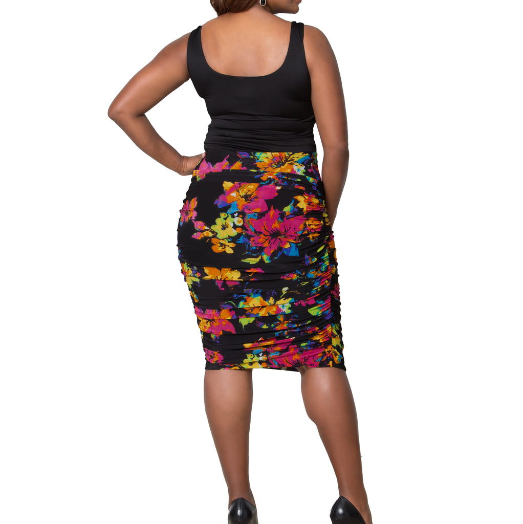 Yieldings Discount Clothing Store's Rhapsody Ruched Skirt by Kiyonna in Multi