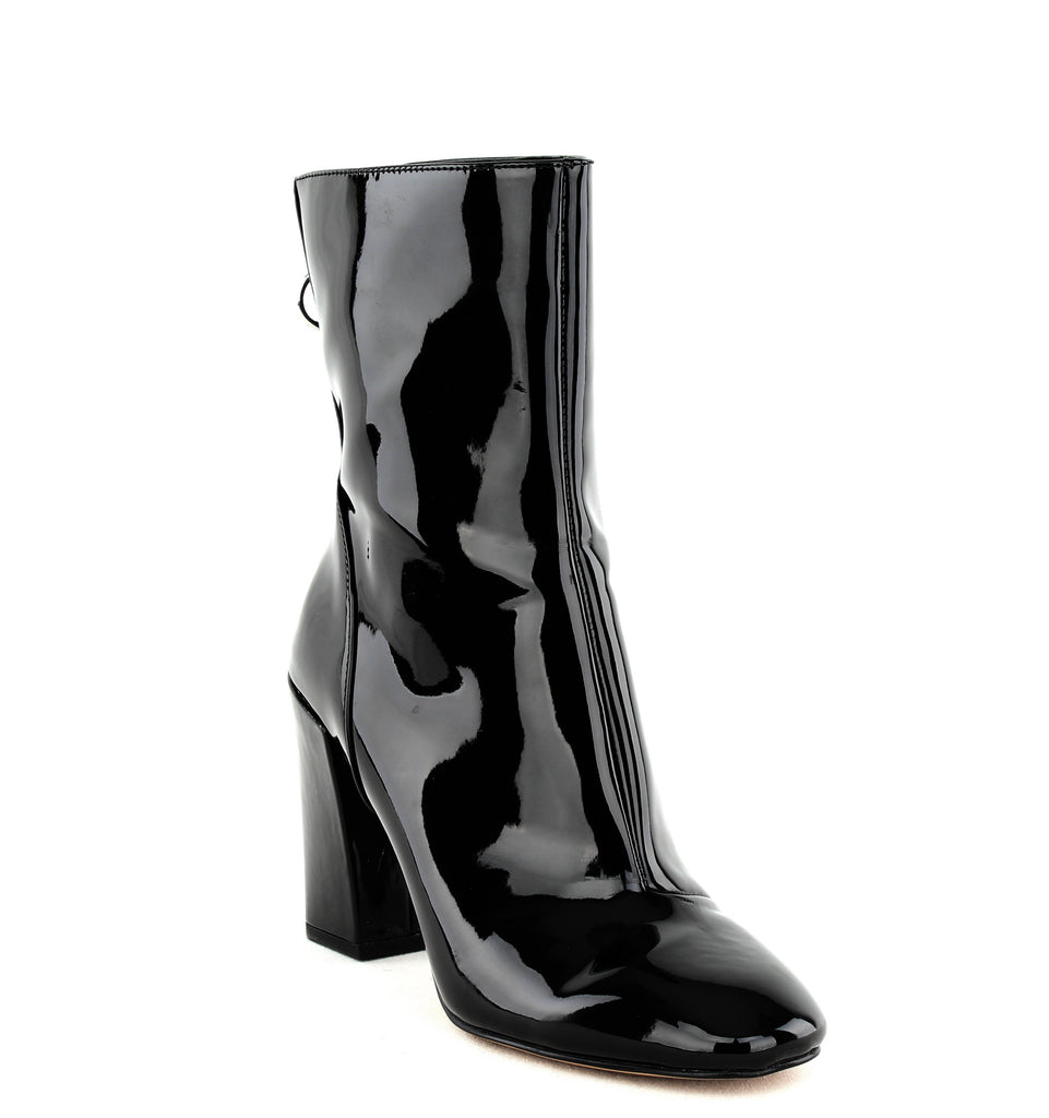 Yieldings Discount Shoes Store's Raina Block Heel Boots by Avec Les Filles in Black Patent Pewter