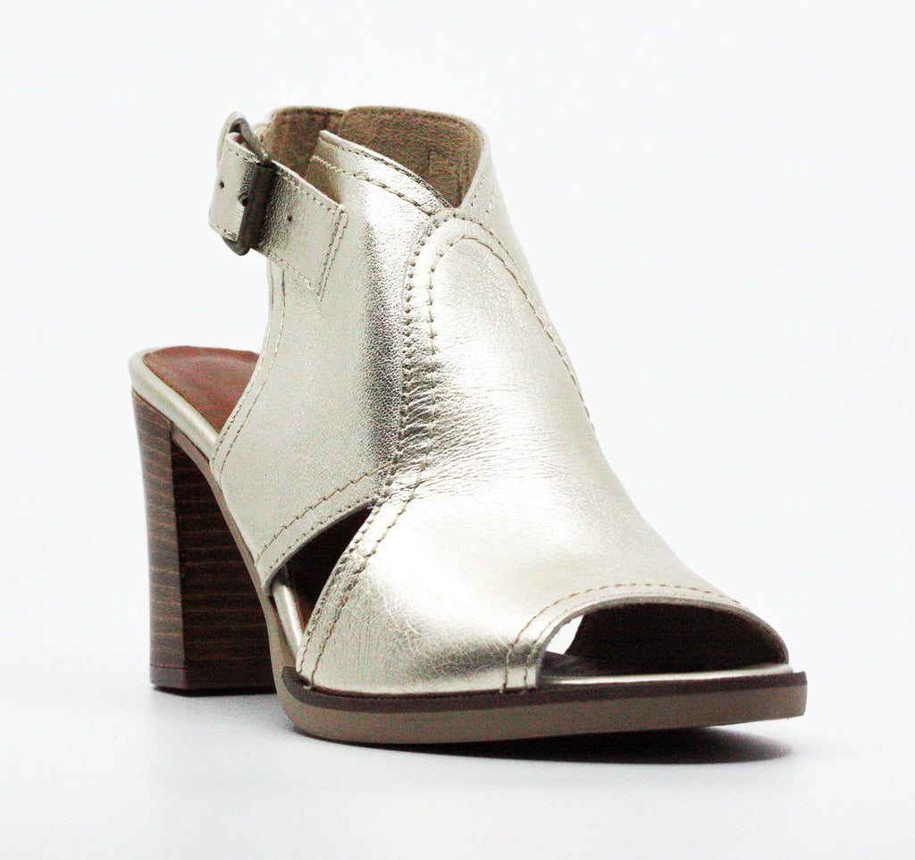 Yieldings Discount Shoes Store's Viv-Italy Leather Block Heel Sandals by Bella Vita in Gold