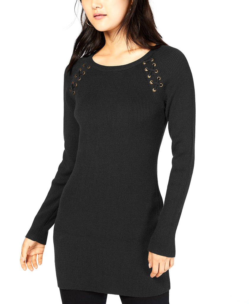 Yieldings Discount Clothing Store's Lace-up Tunic Sweater by BCX in Black