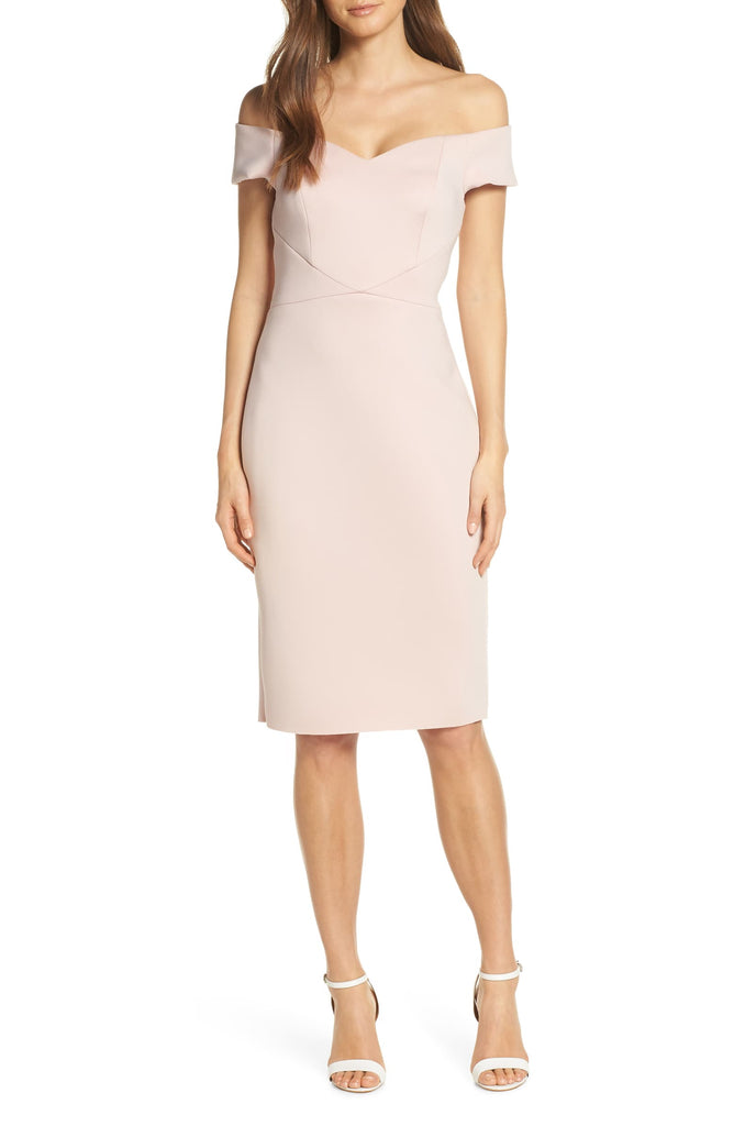 Yieldings Discount Clothing Store's Off-the-Shoulder Sheath Dress by Eliza J in Blush