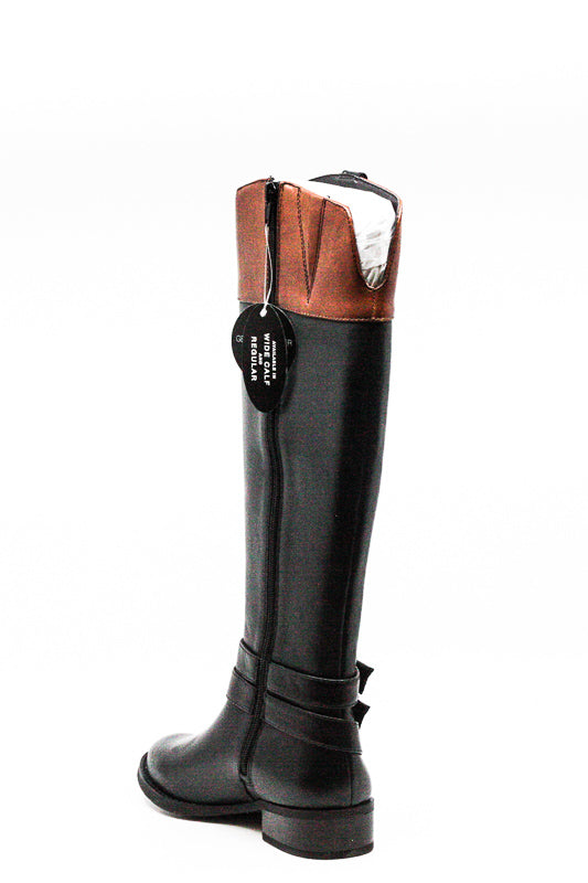 Yieldings Discount Shoes Store's Frankii Riding Boots by INC in Black/Cognac