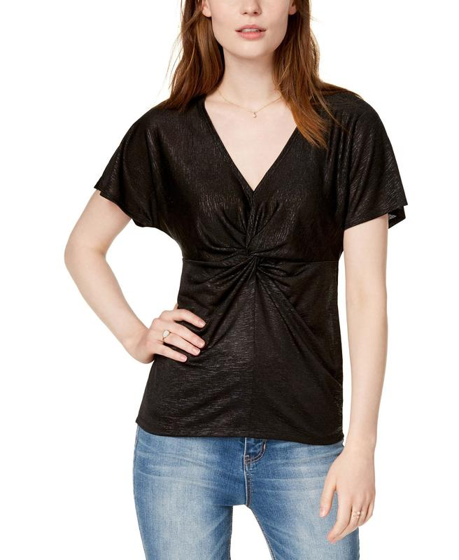 Bar III | Midnight Dots Shine Knot Top Front