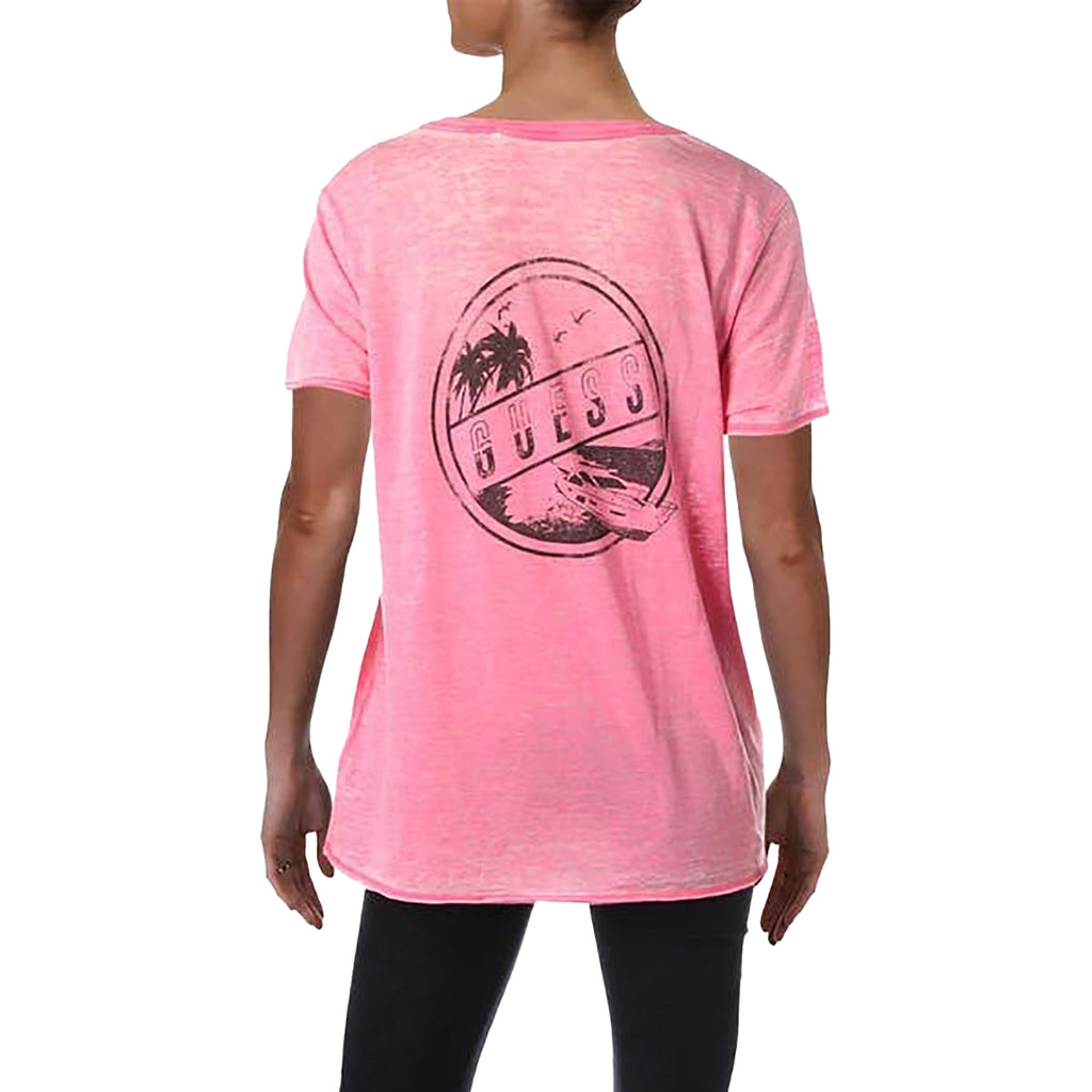 Yieldings Discount Clothing Store's Island Hopping Graphic T-Shirt by Guess in Neon Pink