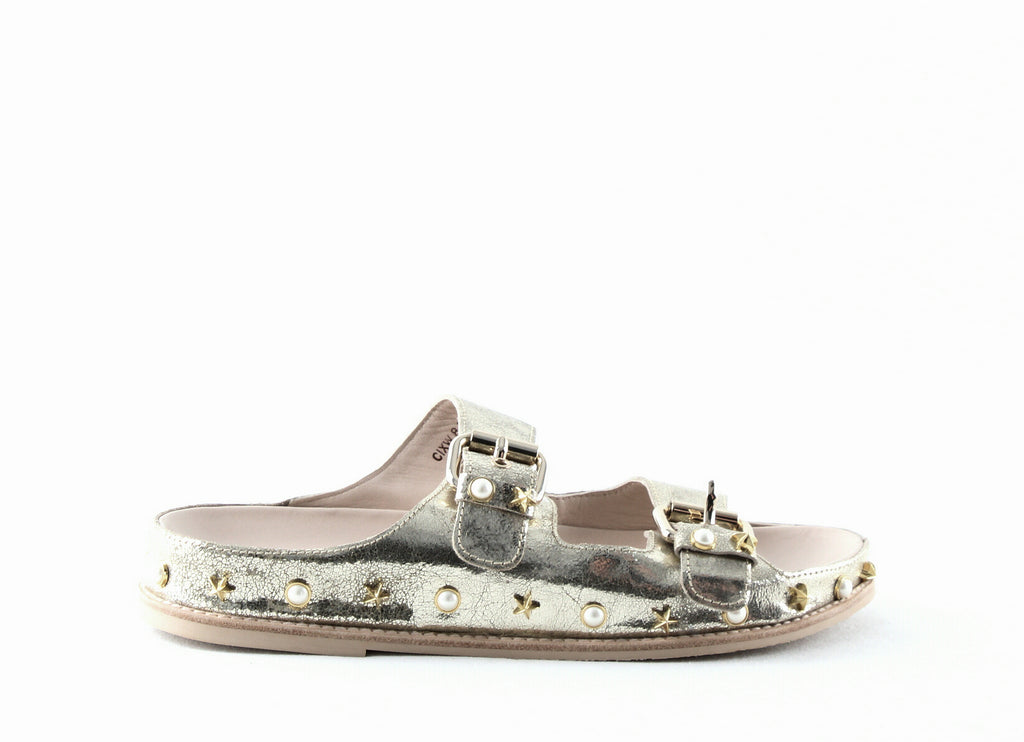 Yieldings Discount Shoes Store's Sandbar Embellished Flat Slide Sandals by Stuart Weitzman in Cava Fractured Kid