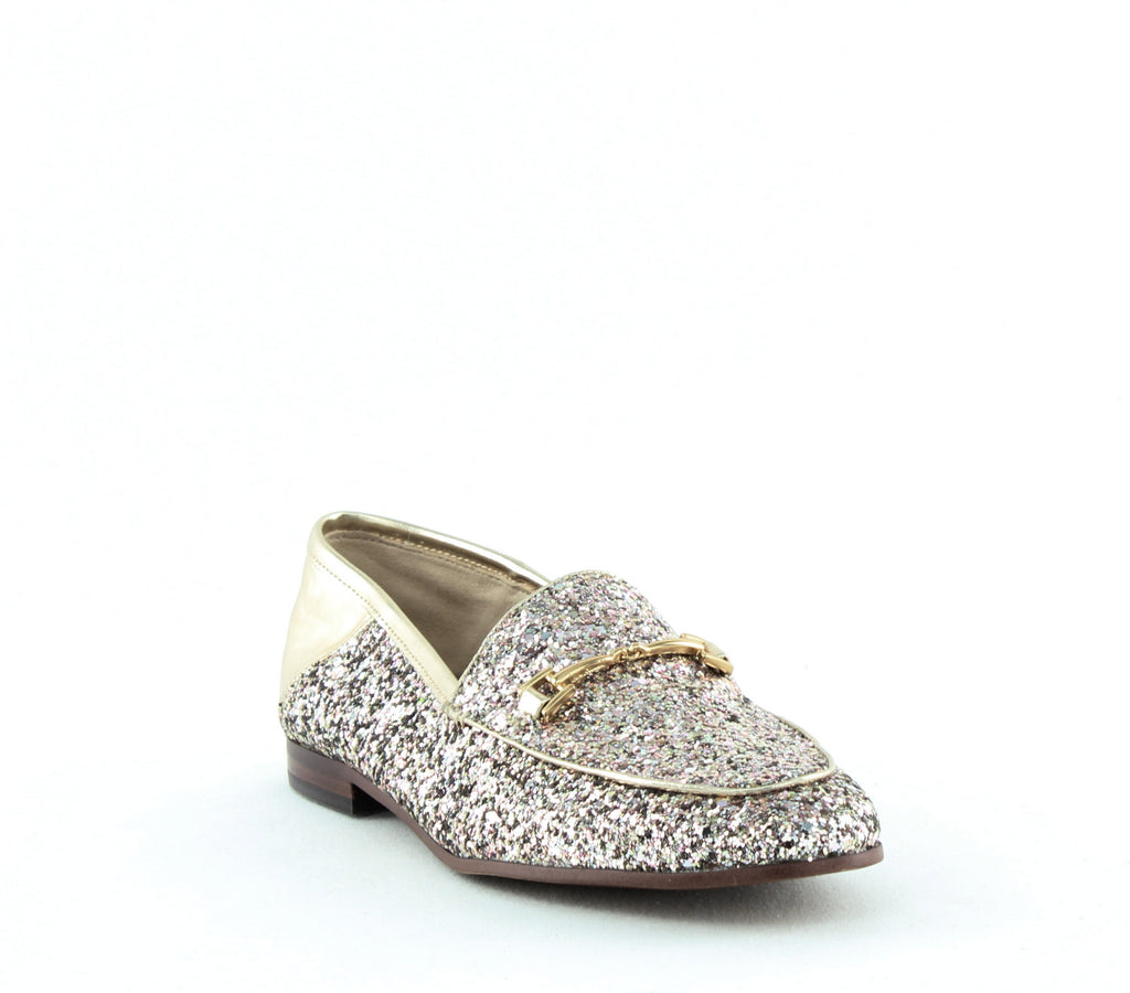 Yieldings Discount Shoes Store's Loraine Loafer by Sam Edelman in Gold Glitter