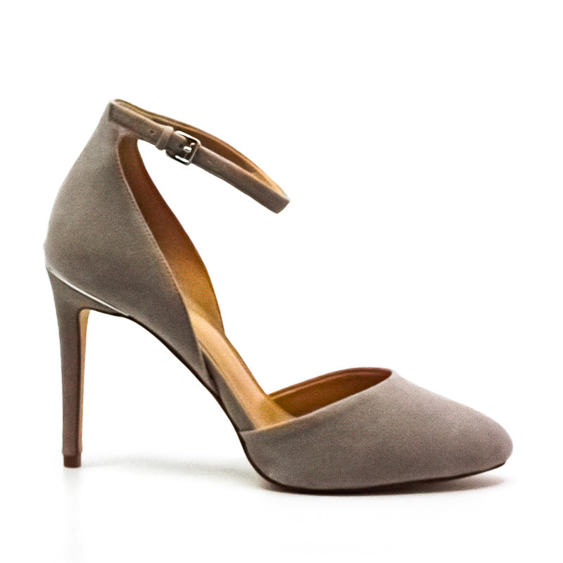 Yieldings Discount Shoes Store's Georgia Suede Ankle Strap Pumps by MICHAEL Michael Kors in Pearl Grey