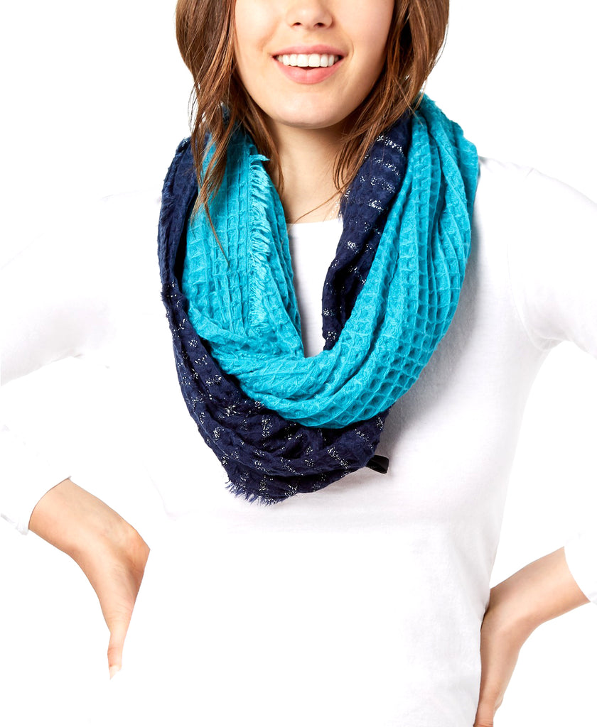 Yieldings Discount Accessories Store's Ombre Waffle Loop Scarf by INC in Navy