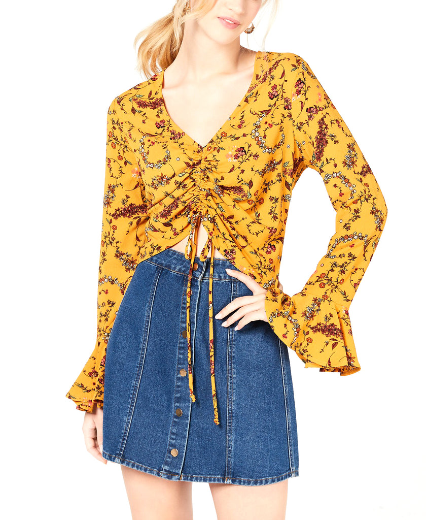 Yieldings Discount Clothing Store's Printed & Ruched Bell-Sleeve Top by Gypsies & Moondust in Mustard