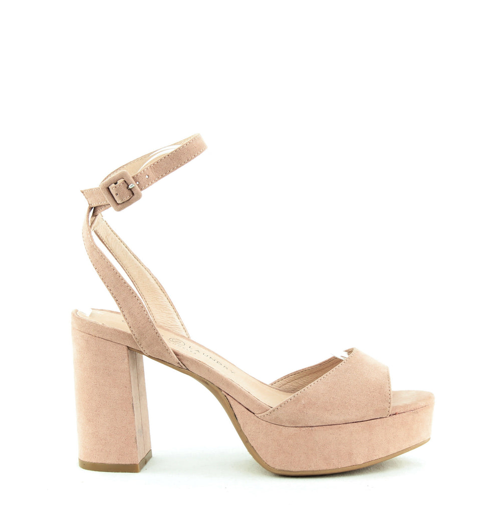 Yieldings Discount Shoes Store's Trixi Microsuede Platform Sandals by Chinese Laundry in Vintage Rose