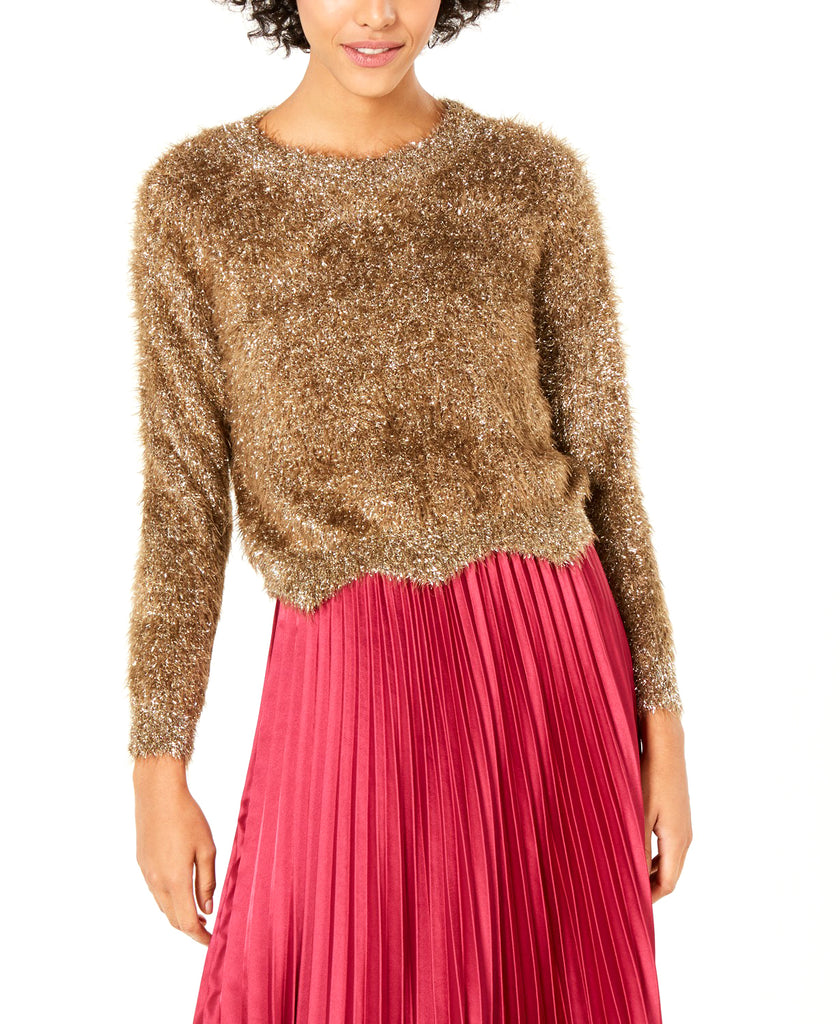Yieldings Discount Clothing Store's Lola Metallic Eyelash Sweater by Lucy Paris in Gold