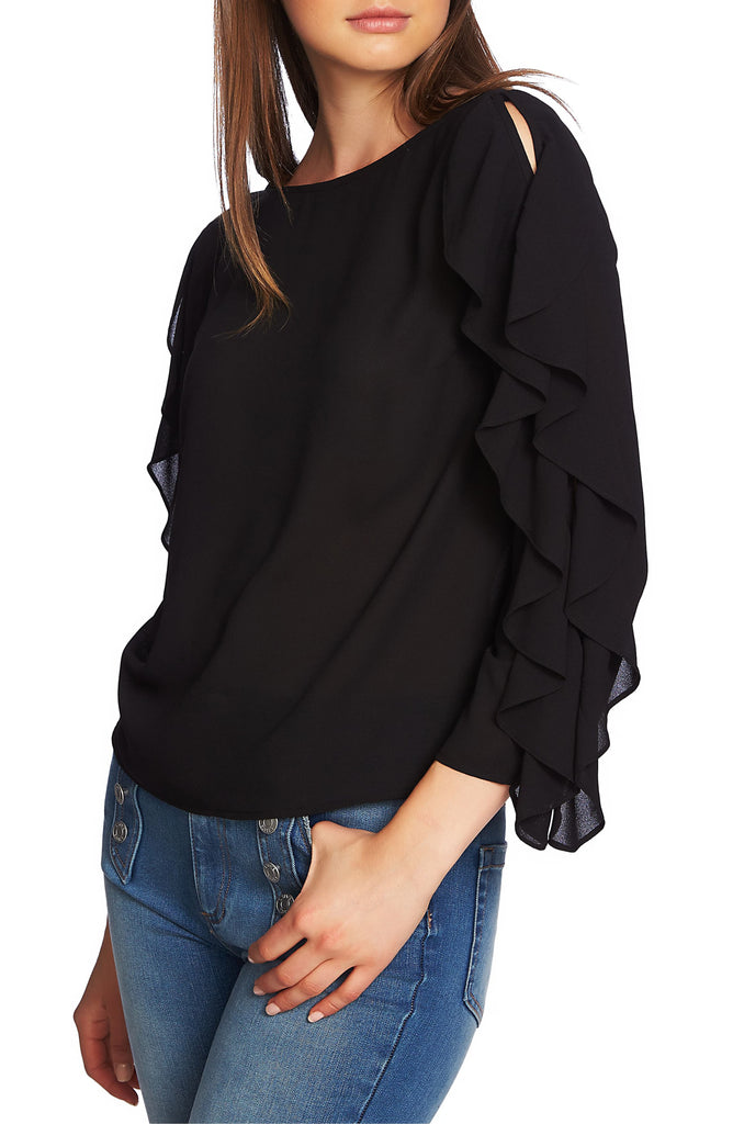 Yieldings Discount Clothing Store's Ruffle-Sleeve Top by 1.State in Rich Black