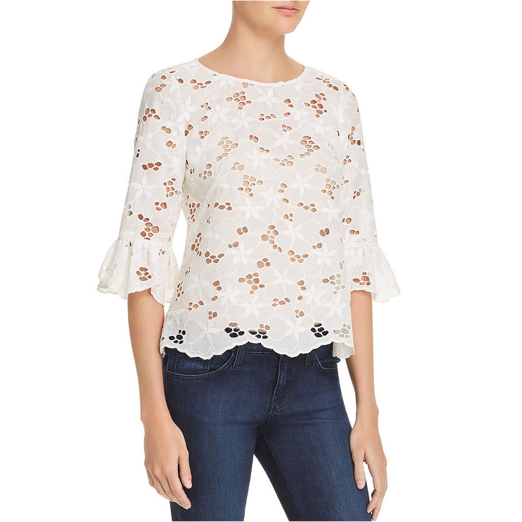 Yieldings Discount Clothing Store's Long Sleeve Adriana Top by Rebecca Taylor in Whte