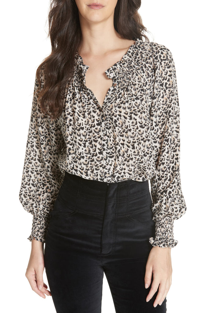 Yieldings Discount Clothing Store's Leopard-Printed Silk Top by Rebecca Taylor in Caramel