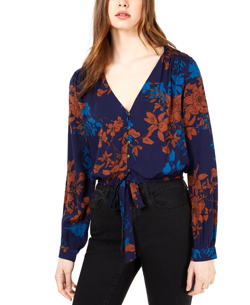 Yieldings Discount Clothing Store's Printed Tie-Hem Top by Sage the Label in Navy/Tan
