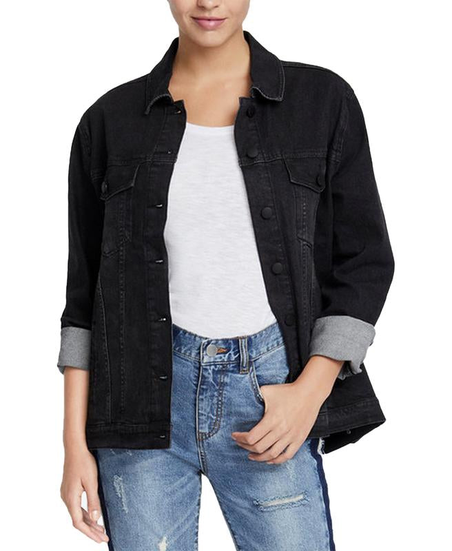 Yieldings Discount Clothing Store's June Beaded Denim Hope Oxfords Jacket by RACHEL Rachel Roy in Washed Black