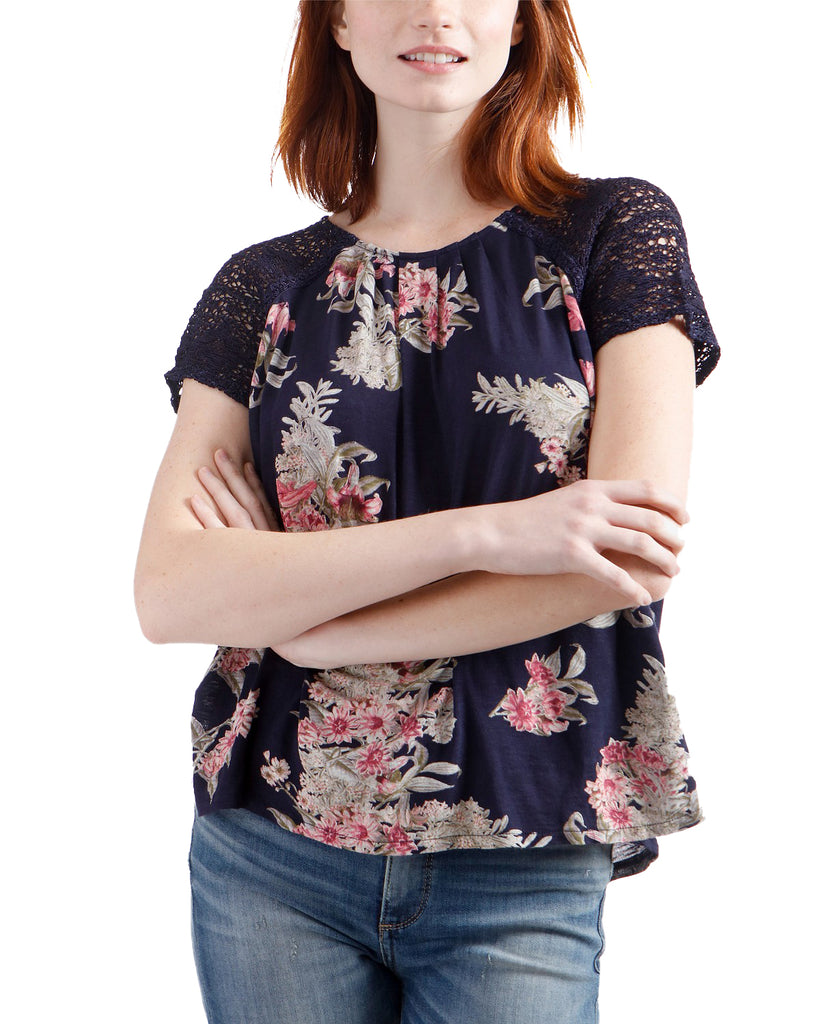 Yieldings Discount Clothing Store's Crochet Sleeve Floral Print by Lucky Brand in Navy