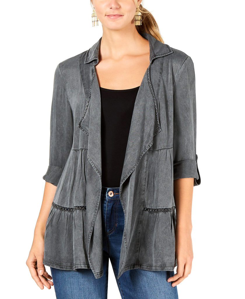Yieldings Discount Clothing Store's Tiered Roll-Tab Sleeve Jacket by Style & Co in New Graphite Grey