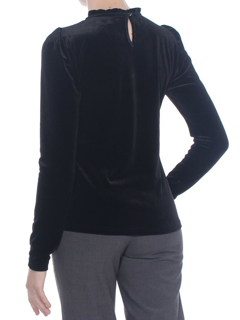 Yieldings Discount Clothing Store's Velvet Puffed-Sleeve Top by Maison Jules in Deep Black
