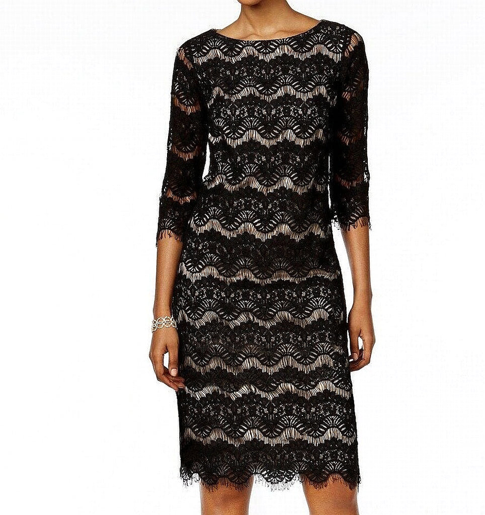 Yieldings Discount Clothing Store's Lace Illusion Sheath Dress by Jessica Howard in Black/Tan