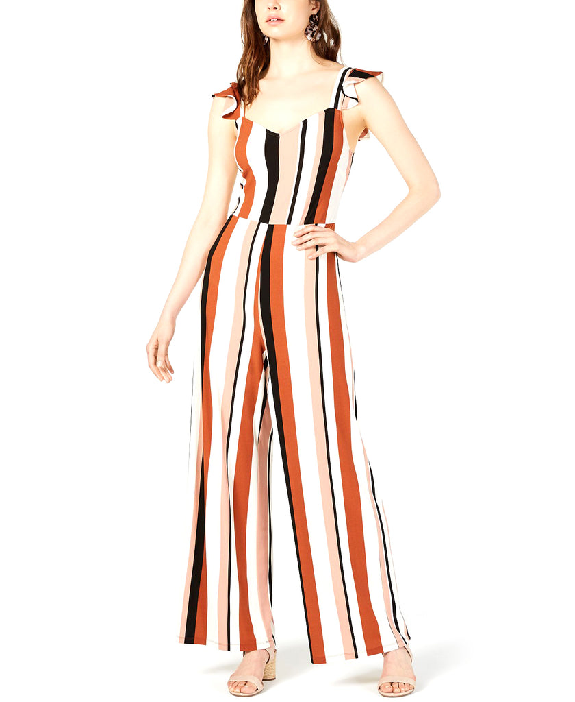 Yieldings Discount Clothing Store's Flutter-Sleeve Striped Jumpsuit by Bar III in Henna Tattoo
