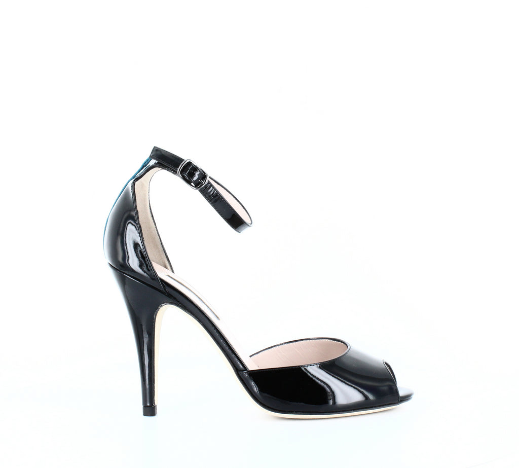 Yieldings Discount Shoes Store's Marquee High Heel Sandals by SJP in Black Patent