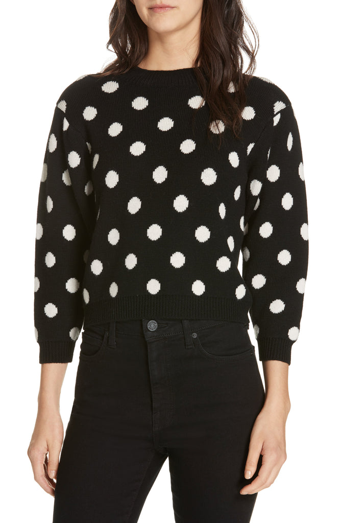 Yieldings Discount Clothing Store's Brettina Polka Dot Sweater by Joie in Caviar