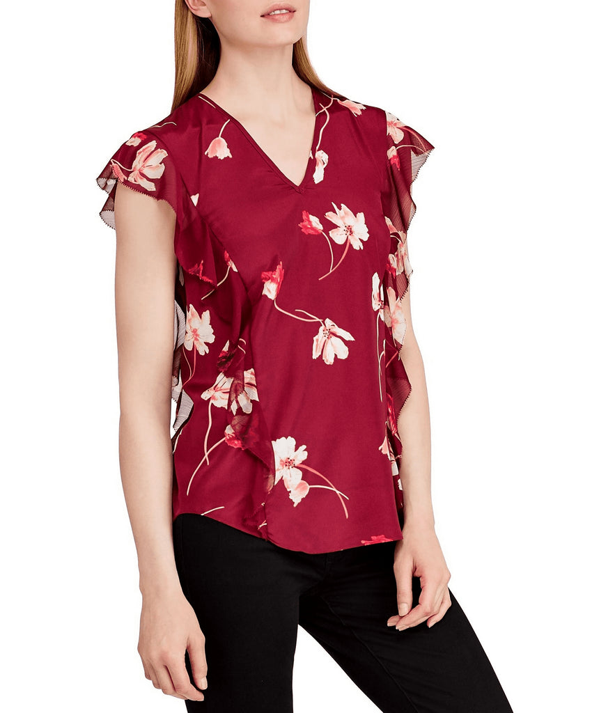 Yieldings Discount Clothing Store's Floral Print Ruffled Top by Ralph Lauren in Red
