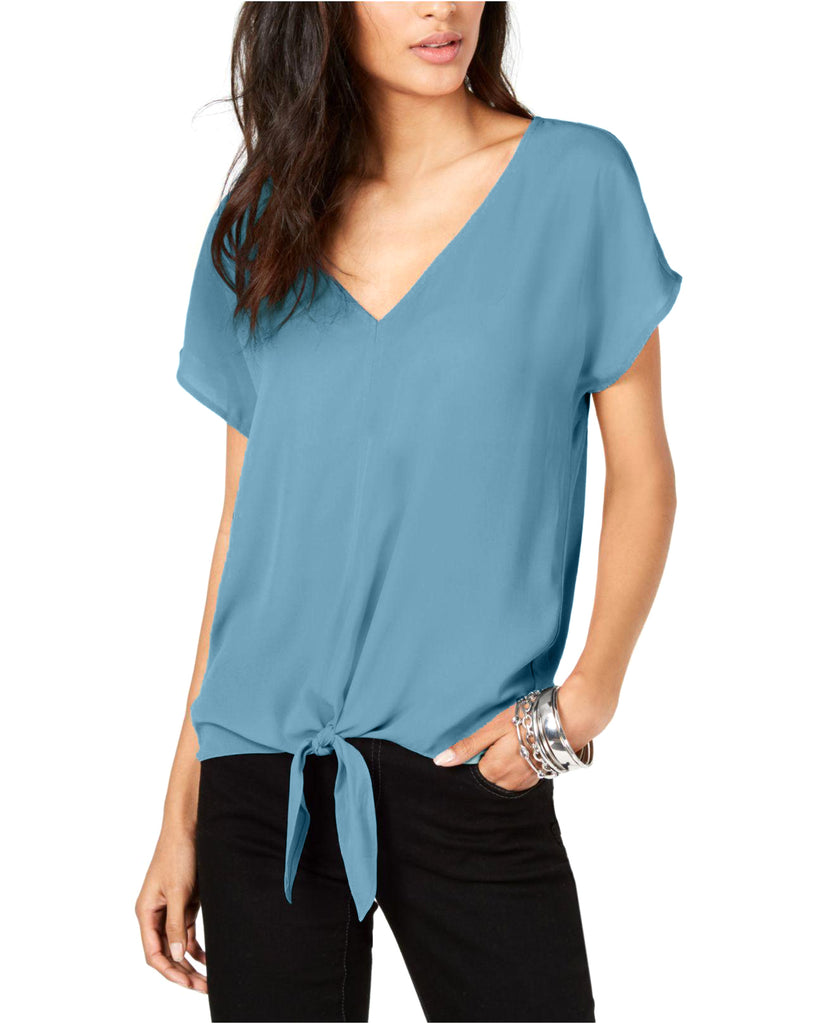Yieldings Discount Clothing Store's Tie-Front Top by INC in Chambray Blue