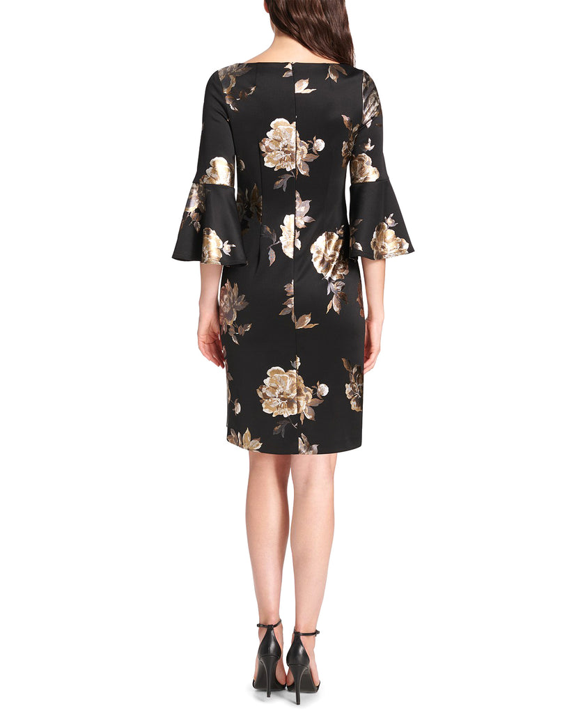 Yieldings Discount Clothing Store's Petite Bell-Sleeve Metallic Floral Dress by Jessica Howard in Black/Gold