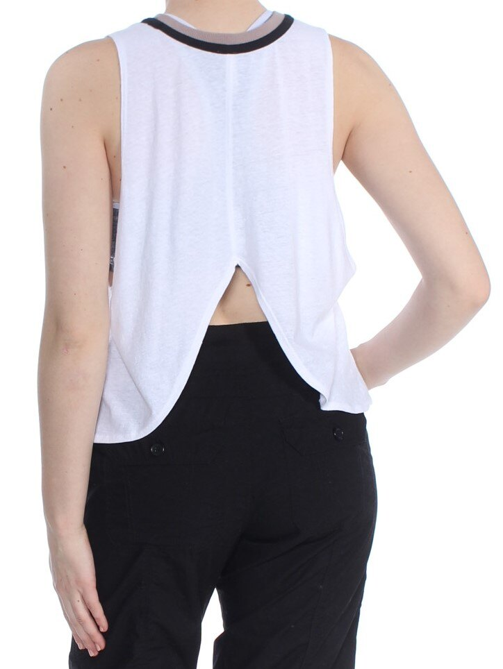 Yieldings Discount Clothing Store's Crew Neck Sleeveless Tank Top by Free People in White Combo