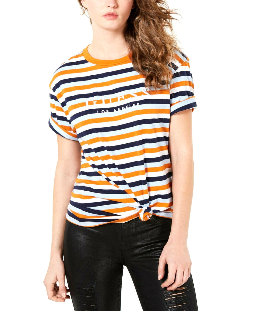 Yieldings Discount Clothing Store's Striped Logo T-Shirt by Guess in Harper Stripe Orange Multi