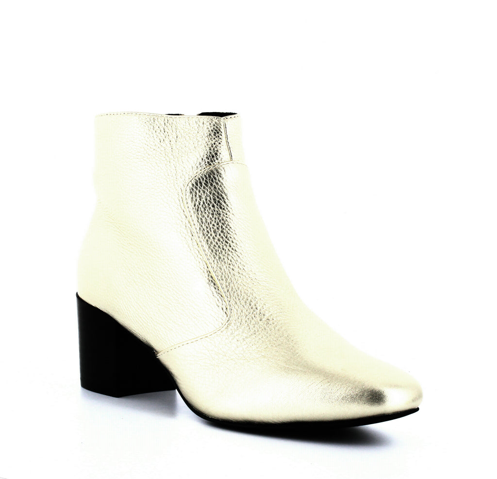 Yieldings Discount Shoes Store's Martina Block Heel Booties by Sol Sana in Gold