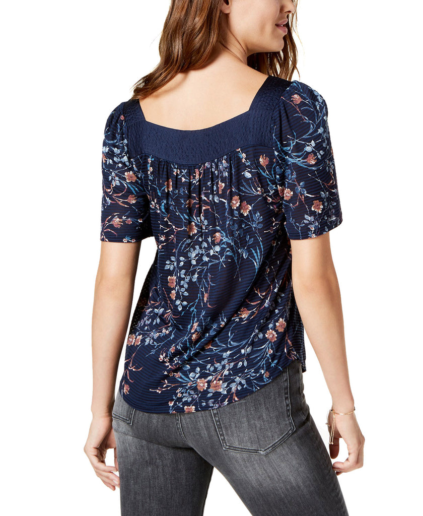 Yieldings Discount Clothing Store's Floral Printed Square-Neck Top by Lucky Brand in Navy