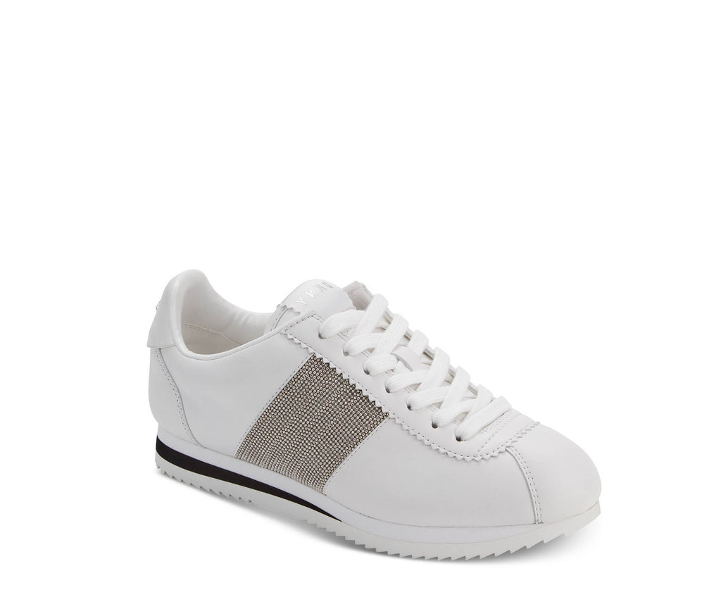 Yieldings Discount Shoes Store's Tezi Leather Embellished Fashion Sneakers by DKNY in White