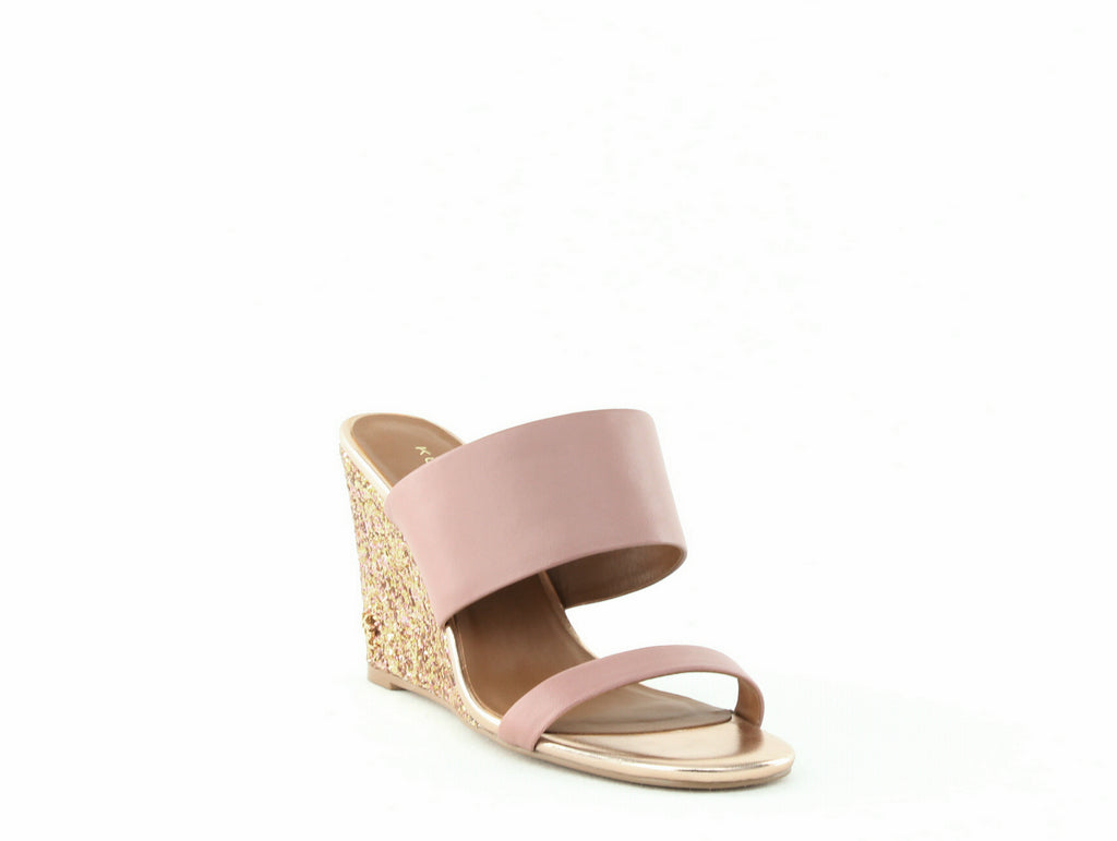 Yieldings Discount Shoes Store's Charing Glitter Wedge Sandals by Kurt Geiger in Pale Pink